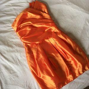 Dresses & Skirts - ✨Orange Pleated Strapless Fancy Dress✨
